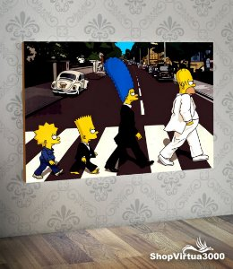 Placa em MDF Horizontal 6mm Ultra Brilho Personalizado Os Simpsons The Beatles - 01 Unidade