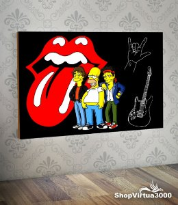 Placa em MDF Horizontal 6mm Ultra Brilho Personalizado Os Simpsons Rock and Roll - 01 Unidade