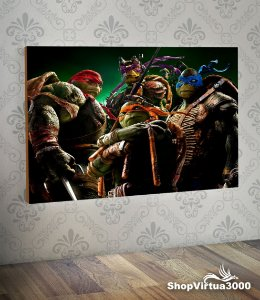 Placa em MDF Horizontal 6mm Ultra Brilho Personalizado Tartarugas Ninjas - 01 Unidade