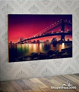 Placa em MDF Horizontal 6mm Ultra Brilho Personalizado Ponte de Manhattan  - 01 Unidade