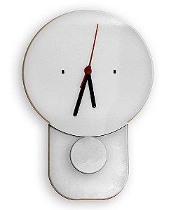 Relógio Modelo Bola Pendulo Mdf 3mm Branco Resinado para Sublimação Ultra Brilho com Máquina - 01 Unidade (PH1516)