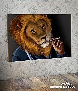 Placa em MDF Horizontal 6mm Ultra Brilho Personalizado Smoking Lion - 01 Unidade