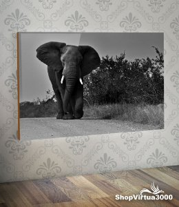 Placa em MDF Horizontal 6mm Ultra Brilho Personalizado Elefante Dark Modelo 02 - 01 Unidade