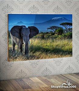 Placa em MDF Horizontal 6mm Ultra Brilho Personalizado Elefante Safari - 01 Unidade