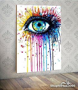 Placa em MDF Vertical 6mm Ultra Brilho Personalizado Arte Olho Colorido - 01 Unidade
