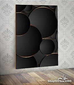 Placa em MDF Vertical 6mm Ultra Brilho Personalizado Bolas Pretas 3D - 01 Unidade