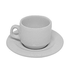 Xícara de Café Cerâmica Branca 65ml Nacional Resinada para Sublimação com Pires - 01 Unidade