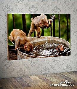 Placa em MDF Horizontal 6mm Ultra Brilho Personalizado Macacos no Banho - 01 Unidade