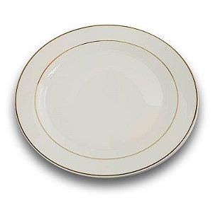 Prato Raso de Porcelana Branco com Borda Dourada para Sublimação 29,5 cm (3047) - 01 Unidade