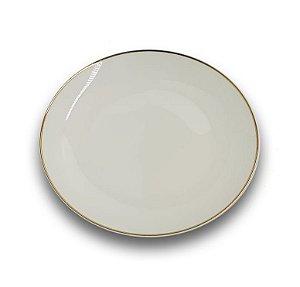 Prato Raso de Porcelana Branco com Borda Dourada para Sublimação 20,0 cm (3048) - 01 Unidade