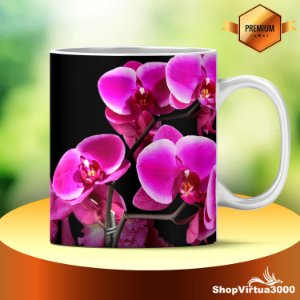 Caneca Cerâmica Classe +AAA Personalizada Flores OrquÍdeas- 01 Unidade