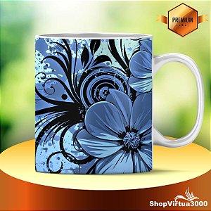 Caneca Cerâmica Classe +AAA Personalizada Desenho Flores Azuis e Pretas - 01 Unidade