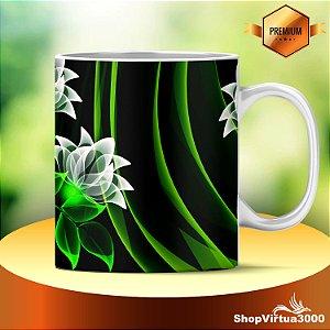 Caneca Cerâmica Classe +AAA Personalizada Flores Verdes 3D Artísticas - 01 Unidade