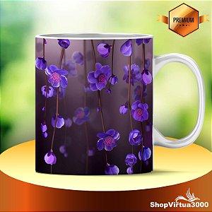 Caneca Cerâmica Classe +AAA Personalizada Flores Roxas Sob Galhos - 01 Unidade