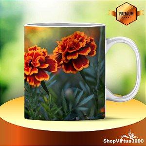 Caneca Cerâmica Classe +AAA Personalizada Marigold Flowers - 01 Unidade