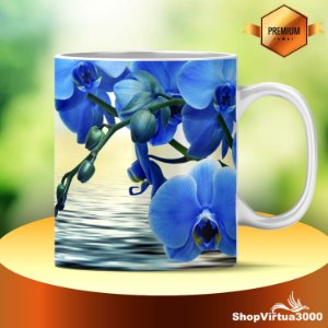 Caneca Cerâmica Classe +AAA Personalizada Flores Orquídeas Azuis - 01 Unidade