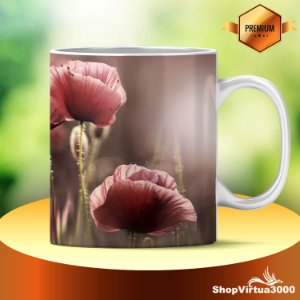 Caneca Cerâmica Classe +AAA Personalizada Flores Rosas - 01 Unidade