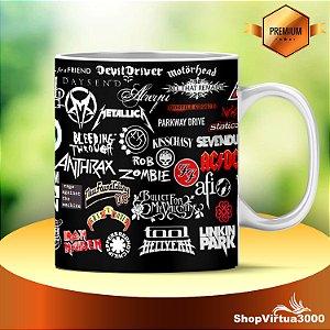 Caneca Cerâmica Classe +AAA Personalizada Bandas de Rock And Roll - 01 Unidade