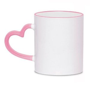 Caneca Cerâmica Branca Com Alça de Coração e Borda Rosa 325ml Para Sublimação (329) - 01 Unidade