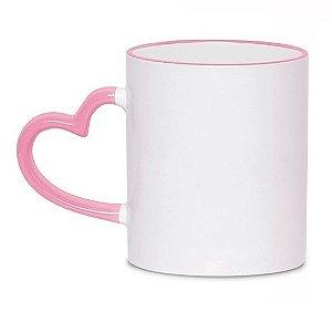 Caneca Cerâmica Branca Com Alça de Coração e Borda Rosa 325ml Para Sublimação (329) - 36 Unidades