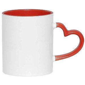 Caneca Cerâmica Branca Com Alça de Coração e Interior em Vermelha 325ml Resinada P/ Sublimação (2623) - 36 Unidades (Caixa Fechada)