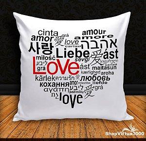 Almofada Personalizada Amor em Diversas Línguas (Com Capa Material Oxford + Enchimento) - 01 Unidade