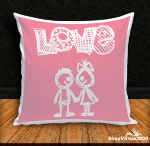 Almofada Personalizada Love Casal Draw (Com Capa Material Oxford + Enchimento) - 01 Unidade