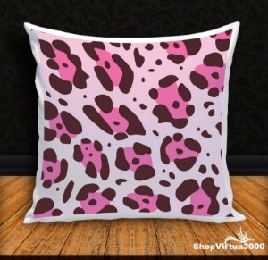 Almofada Personalizada Linha Pet Pele de Onça Pintada Pink (Com Capa Material Oxford + Enchimento) - 01 Unidade