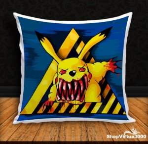 Almofada Personalizada Pikachu Furioso (Com Capa Material Oxford + Enchimento) - 01 Unidade