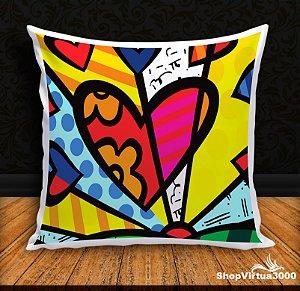 Almofada Personalizada Amor Romero Britto (Com Capa Material Oxford + Enchimento) - 01 Unidade