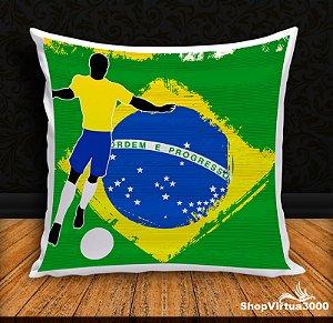 Almofada Personalizada Futebol Brasileiro Pentacampeão (Com Capa Material Oxford + Enchimento) - 01 Unidade