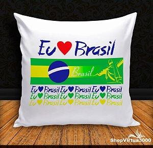 Almofada Personalizada Eu Amo Brasil (Com Capa Material Oxford + Enchimento) - 01 Unidade