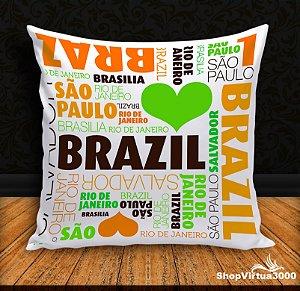 Almofada Personalizada Brasil Turistando (Com Capa Material Oxford + Enchimento) - 01 Unidade