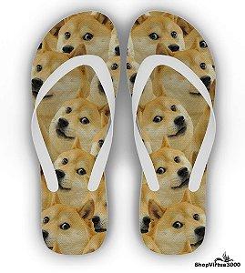 Chinelo Borracha Branco Personalizado Linha Pet Doge Meme - 01 Unidade