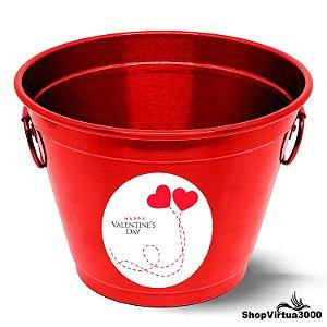 Balde para Gelo Em Alumínio Linha Luxo Design Brilhante Personalizado Happy Valentine's Day - 01 Unidade