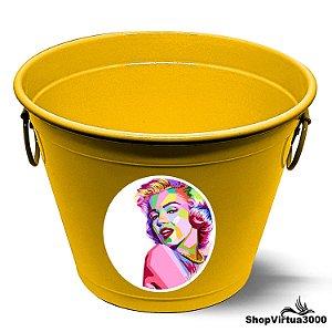 Balde para Gelo Em Alumínio Linha Luxo Design Brilhante Personalizado Marilyn Monroe - 01 Unidade