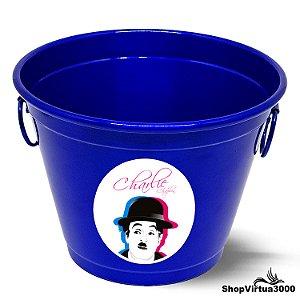 Balde para Gelo Em Alumínio Linha Luxo Design Brilhante Personalizado Charlie Chaplin - 01 Unidade