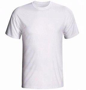 Camiseta/Camisa Tamanho M Gola Careca Manga Curta Unissex em Malha 100% poliéster Branca Sublimática - 01 Unidade