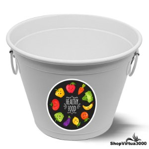 Balde para Gelo Em Alumínio Linha Luxo Design Brilhante Personalizado Healthy Food - 01 Unidade