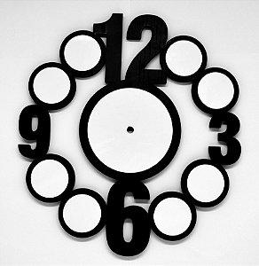 Relógio Redondo Artístico Mdf Preto 9mm com 09 peças Brancas Resinadas para Sublimação Ultra Brilho com Máquina - 01 Unidade (PH1518)