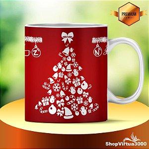 Caneca Cerâmica Classe +AAA Personalizada 325ml Natal Árvore Silhouette - 01 Unidade