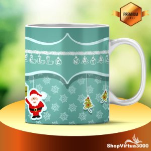 Caneca Cerâmica Classe +AAA Personalizada 325ml Feliz Natal Stickers - 01 Unidade