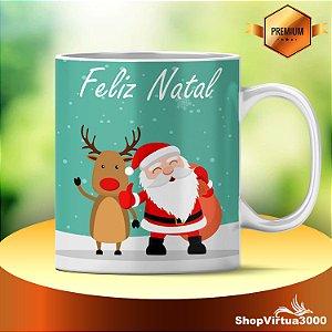 Caneca Cerâmica Classe +AAA Personalizada 325ml Feliz Natal Papai Noel e Rena - 01 Unidade