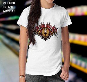 Camisa 100% Poliéster Personalizada Bola Flamejante Do Futebol Americano - 01 Unidade