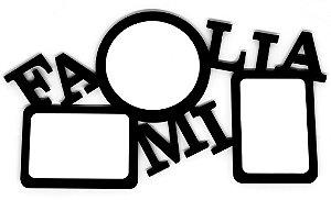 Porta Retrato Família Triplo Mdf Preto 9mm Com 03 Peças Brancas Resinadas para Sublimação Ultra Brilho - 01 Unidade (ph1430)