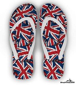 Chinelo Borracha Branco Personalizado Bandeiras Reino Unido - 01 Unidade