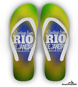 Chinelo Borracha Branco Personalizado Greeting From Rio de Janeiro Brazil - 01 Unidade