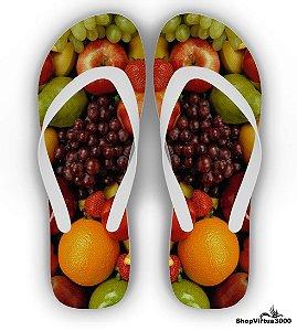 Chinelo Borracha Branco Personalizado Frutas - 01 Unidade