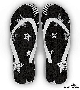 Chinelo Borracha Branco Personalizado Textura Estrelas Desenho - 01 Unidade