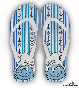 Chinelo Borracha Branco Personalizado Os Smurfs Modelo 01 - 01 Unidade